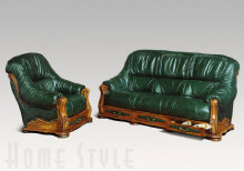 Rustic 3 Seater Sofa & 2 Chairs in Leather